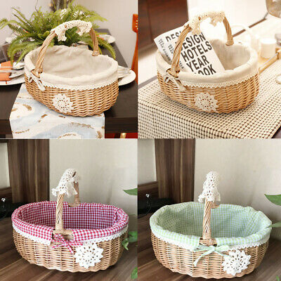 Natural Wicker Bread Basket Shopping Egg Fruit Storage Hamper + Fabric Lining • 10.29£
