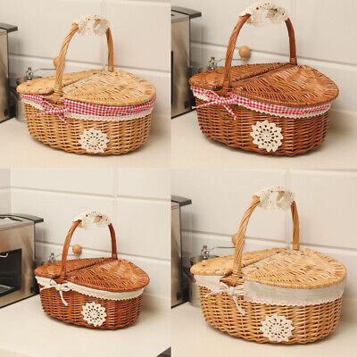 Wicker Bread Basket Shopping Shop Fruit Egg Storage Hamper Cover +Fabric Lining • 12.99£