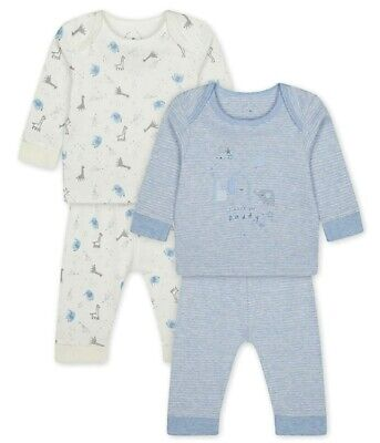 BNWT Mothercare Baby Boys Blue Zoo Animals Daddy Pure Cotton 2 Pack Pyjamas Set  • 9.95£