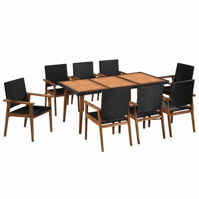 9 Piece Outdoor Dining Set Poly Rattan Black And Brown | Wood Furniture • 696£