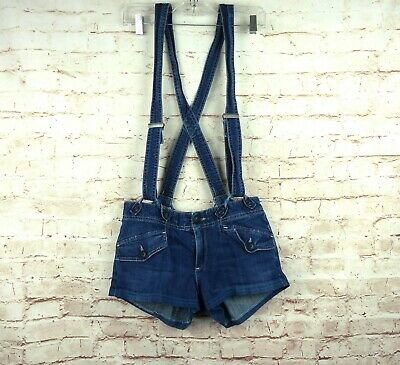 $50 • Buy AG Adriano Goldschmied Denim Utility Suspender Shorts Blue Size 28 Altered