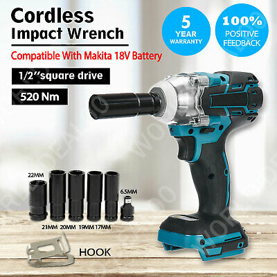 Cordless Brushless Impact Wrench 18V 1/2  For Makita DTW285Z + 6X Socket Set UK • 59.99£