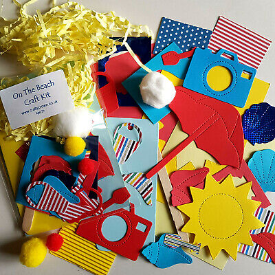 On The Beach Craft Kit / Children / New / Cardmaking / Party • 1.25£
