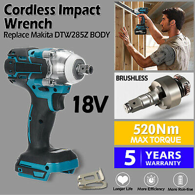 Cordless Impact Wrench For Makita DTW285Z Brushless 1/2  18V Li-ion Body Only UK • 40.99£