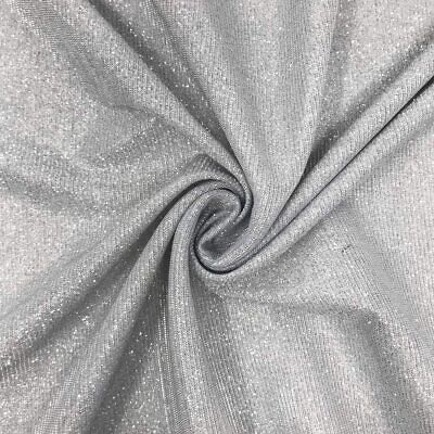 """£5.98 • Buy Silver Sparkly Glitter Stretch Moonlight Fabric 58""""wide Dress Bridal"""