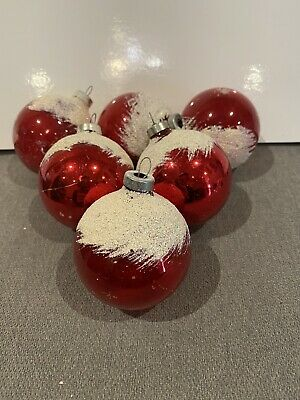 $ CDN31 • Buy 6 Vintage Shiny Brite Snow Cap Frosted Glass Ball Bulb Christmas Ornaments