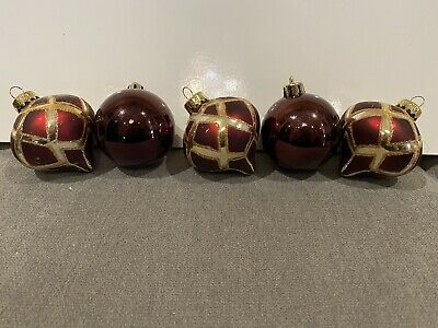 $ CDN19 • Buy VINTAGE LOT OF 6 CHRISTMAS GLASS ORNAMENTS Dark Cranberry Colour.