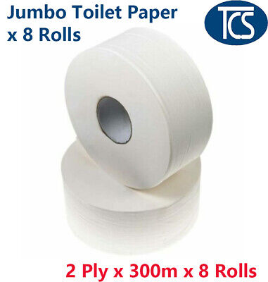 AU46 • Buy JUMBO TOILET PAPER - 8 Rolls X 300m 2 Ply - Crisp White - Individually Wrapped