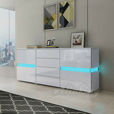 177cm Sideboard Buffet Cabinet Cupboard High Gloss Front 4 Drawers RGB LED Light • 169.99£