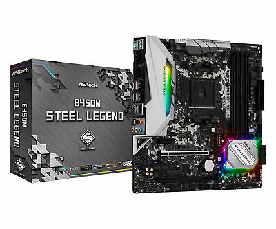 AU165.64 • Buy ASRock B450M AMD AM4 Steel Legend MATX Gaming Motherboard CrossfireX DDR4 M.2