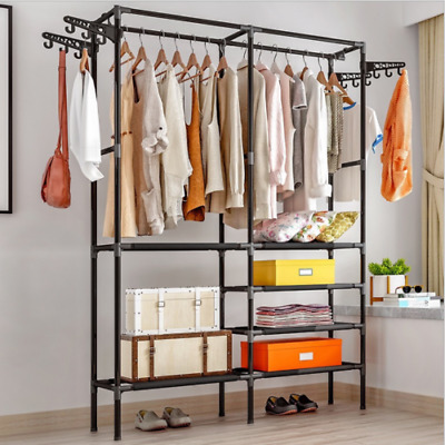 £16.99 • Buy Black Heavy Duty Hanging Clothes Garment Rail With Shoe Rack Shelf And Hat Stand