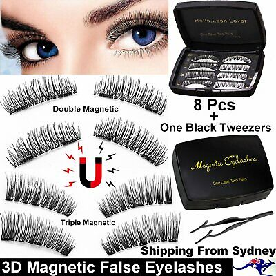 AU16.99 • Buy 8Pcs/Set 3D Double Triple Magnetic False Eyelashes Handmade Extension Eye Lashes