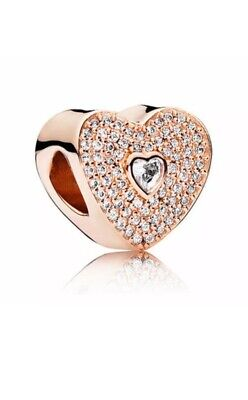 Beautiful Rose Gold Heart Charm Cubic Zirconia Comes With A Velvet Gift Pouch • 8.99£