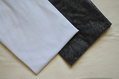 £4.85 • Buy 2m Lightweight Fusible Iron-on Interfacing White/Charcoal 150cm 60  EXTRA WIDE