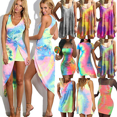 Summer Women Gradient Tie-Dye Beach Dress Casual Sundress High Low /  Mini Dress • 13.48£