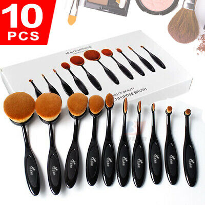 AU19.50 • Buy 10Pcs Beauty Toothbrush Shaped Oval Cosmetic Cream Puff Makeup Brushes Set Kit