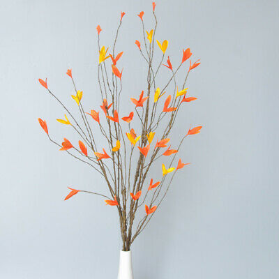 £4.15 • Buy Artificial Autumn Deadwood Fake Maple Leaves Dry Tree Branch Home Flower Decor