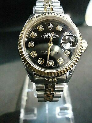 AU5500 • Buy ROLEX OYSTER DATEJUST TWO TONE BLACK FACE W DIAMOND HOUR MARKERS LADIES WATCH