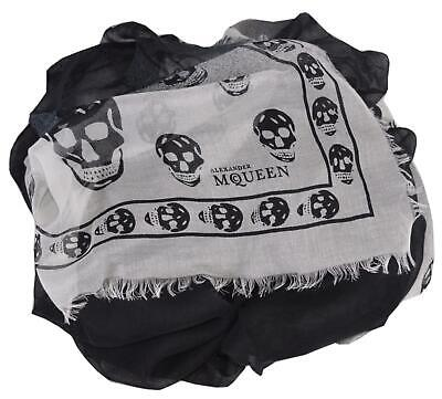 AU269.10 • Buy New Alexander McQueen 527130 Black White Modal Cashmere SHADOWY SKULL Scarf