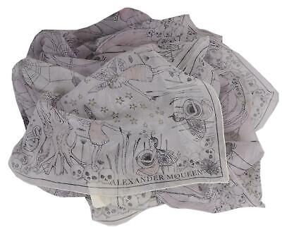 AU224.25 • Buy New Alexander McQueen $395 529441 WEB OF WISHES Fairy Skull Silk Scarf