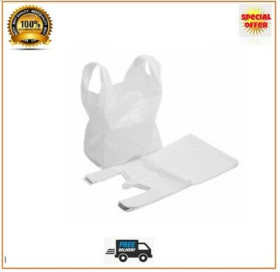 White Plastic Carrier Bags Strong Vest Bags Shops Stalls Supermarkets All Sizes • 10.49£