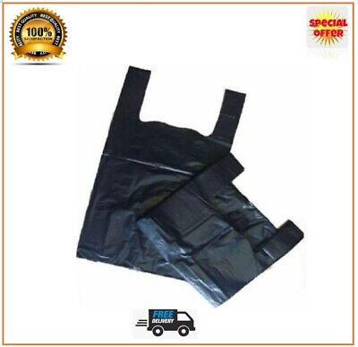 Carrier Bags Black Strong Vest Bags Supermarkets Shops Stalls Small And Large   • 3.49£