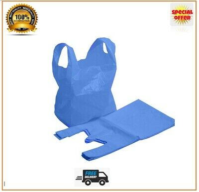Blue Plastic Carrier Bags Strong Vest Bags Shops Supermarkets Large And XL Jumbo • 3.99£