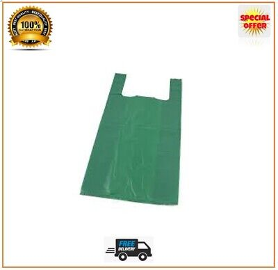Vest Carrier Bags Green Strong Shops Stalls Supermarkets Large Jumbo Size • 3.84£