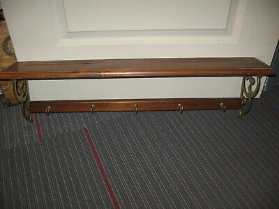 Vintage Wood Wooden Wall Shelf With 5 Cup  Hooks And Plate Racks Brass Sides • 21.54£