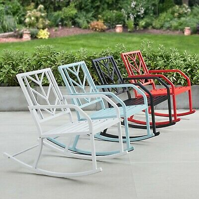 $86.45 • Buy Outdoor Metal Rocking Chair Patio Seating Garden Yard Black Blue Red White New