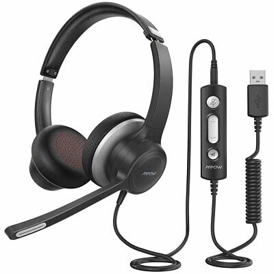 Mpow Headset Wired Over Ear USB AUX Headphones Stereo With Mic Call Center Skype • 23.99£