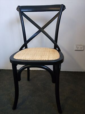 AU99 • Buy New French Provincial Industrial Dining Cross Back Chairs - Black