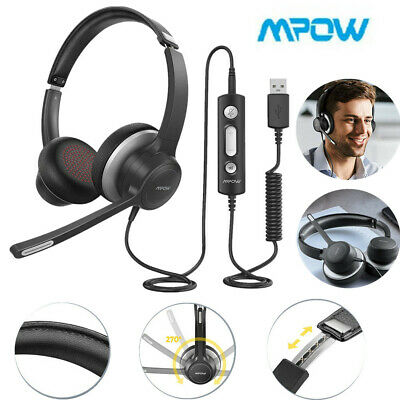 Mpow USB 3.5mm Computer Headset Headphones W/ Mic For Call Center PC Phone Skype • 27.69£