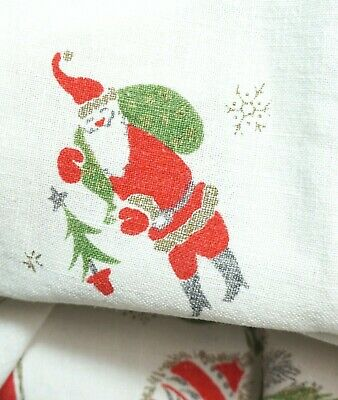 $ CDN120.10 • Buy Vintage MCM Holiday Christmas Tablecloth White Linen Red Green 60  X 48