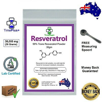 AU62.99 • Buy Trans Resveratrol 30g Powder 99% Certified Purity Anti Aging NAD+ NMN Booster
