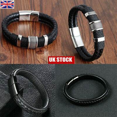 Mens Leather Braided Bracelet Wristband Stainless Steel Clasp Jewellery Gift • 5.49£