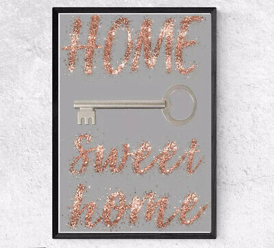 DIGITAL Glitter  PRINT HOME SWEET HOME A4 GREY ROSE GOLD PICTURE WALL ART DECOR • 5.99£