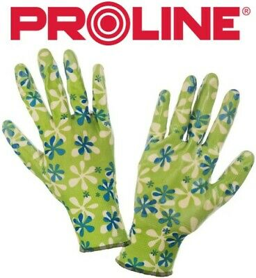 LADIEs GIRLS GARDENING WORK GLOVES Nitrile Coated GREEN - SIZE 7 (S) 8 (M) 9 (L) • 2.99£