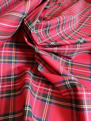 RED ROYAL STEWART TARTAN Fabric Material POLY COTTON Crafts Quilting Sewing 1M • 7.99£