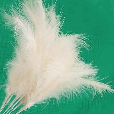 £3.25 • Buy 6 X IVORY FEATHER STEM SPRAY Wired White Craft Decoration Fascinator Cake Topper