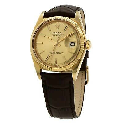 $ CDN9442.27 • Buy Rolex Vintage Datejust 1601 36mm 18k Yellow Gold 1978 Automatic Watch On Leather