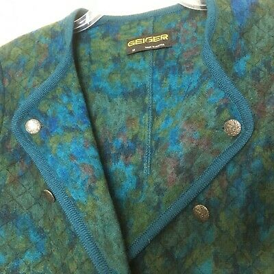 $49.95 • Buy GEIGER Austria 38 Boiled Wool Blue Green Double Breasted Jacket Blazer Medium