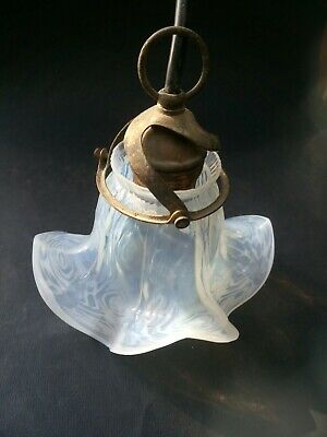 Antique Vintage Vaseline Opaline Glass Pendant Lamp Light Shade With Gallery • 82£