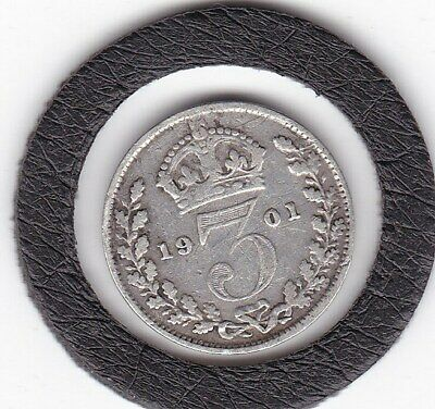$3.25 • Buy Older  Head  1901   Queen  Victoria  Threepence  (3d)  Silver (92.5%) Coin