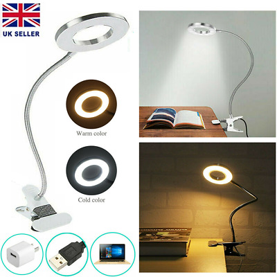 8W Clip On LED Clamp Light Book Reading Desk 5V Flexible Bedside Night Lamp USB • 9.29£
