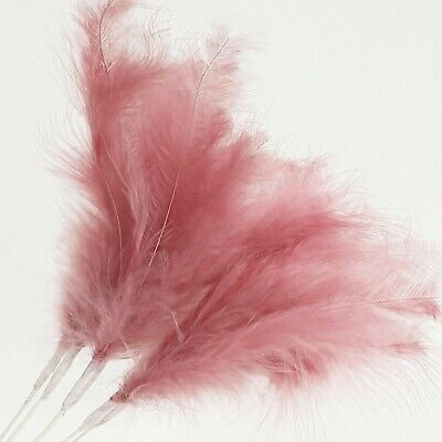 6 X DUSKY PINK Feather Splay Fascinator Craft Cake Wired Stem Decoration 25cm • 2.99£