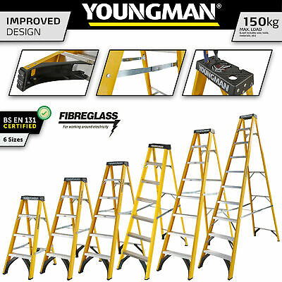 Fibreglass Step Ladder Youngman Catwalk S400 GRP Steps For Heavy Duty Industrial • 110£