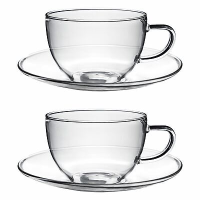 Glass Cups And Saucers Cappuccino Tea Coffee Serving Cup Set 260ml X2 • 14.99£