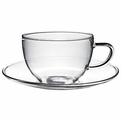 £8.99 • Buy Glass Cups And Saucers Cappuccino Tea Coffee Serving Cup Set 260ml X1