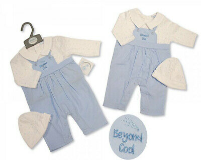 Baby Boy Clothes Spanish Romany Style All In One Hat 2 Piece Set Blue  NB-0-3m • 11.99£